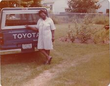 Old Vintage Photograph African American Woman Standing By Old Toyota Truck