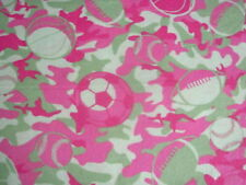 Sports Camouflage Football Baseball Basketball Soccer on FLANNEL By The Yard