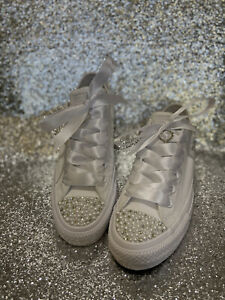 Wedding Converse Customised With stunning White Pearls And Clear Crystals