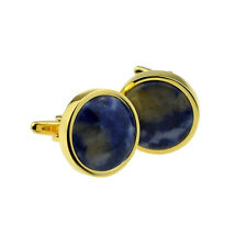 Hand Set Polished Blue Marble in Gold Plated Cufflinks in a Leatherette Box