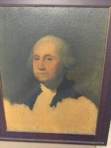Antique Framed Oil on Canvas Painting Print George Washington Gilbert Stuart