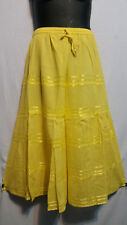 Women Clothing elastic waist Long Skirt with pull string cotton Yellow Free Size