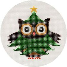 NEEDLEPOINT HandPainted JP Needlepoint CHRISTMAS Tree OWL Ornament 4.5""