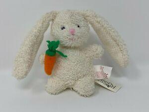 "Russ Mini ""Home Buddies""  3"" Terry Cloth White Bunny w/ Carrot NOS #32"
