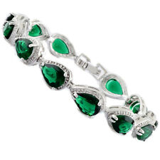 Fashion Pear Cut Green Emerald White Gold Plated Tennis Bracelet