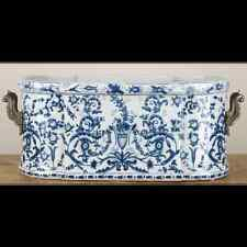 NEW PORCELAIN AND BRONZE ORMOLU BLUE AND WHITE JARDINIERE PLANTER azure casey