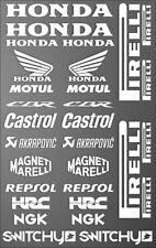 KIT ADESIVI GRAFICA COMPATIBILE MOTO SPONSOR BIANCO CARENE HONDA CBR 600 1000 RR