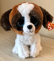 "6"" TY BEANIE BOOS DUKE BROWN & WHITE PUPPY DOG STUFFED ANIMAL PLUSH TOY W TAG"