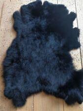 1pcs Genuine Rabbit Fur Skin Tanned Leather Hides Craft Gray Pelts Fashion Black