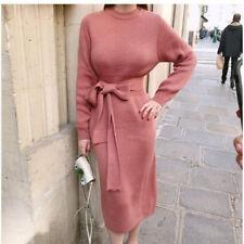 Winter Sweater Dress Elegant Knitted Knee Length Pencil Dress 2018 Fashion Slim