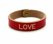 "8"" made in Canada hight quality Love Leather Bracelets Engraved Red size Large"