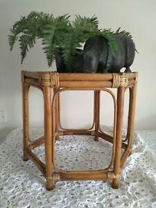 Vintage Bamboo Wicker Hexagonal Table Plantstand Boho Tiki