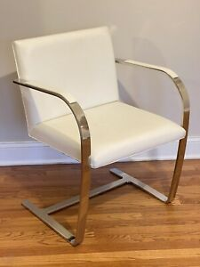Ludwig Mies van der Rohe For Knoll Ivory Leather Flat Bar Brno Chair Mcm Vintage