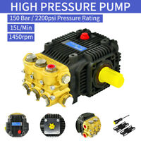 2200PSI High Pressure Washer Pump Solid Shaft 150 Bar 15L High Pressure Plunger