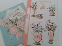 2 Vtg 1953 & 1957 HAPPY ANNIVERSARY WIFE Lily Valley & Bouquets GREETING CARDS