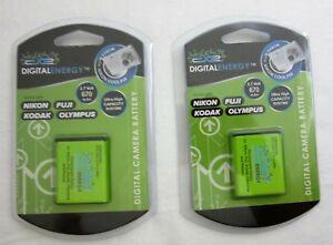 2X Digital Energy 230-0173 3.7v 670mah Camera Battery For Nikon Kodak Fuji Etc