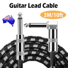 10FT 3M Guitar Lead 1 Right Angle Jack Noiseless Braided Tweed Instrument Cable