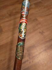Vintage European Walking Stick Germany Austria Triburg Brindelwald 13 Tags Wood