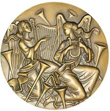 MUSIC / ANJOS PLAYING MUSIC / NATIVITY 1973 / BRONZE MEDAL BY ANTUNES. M18b