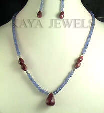 DESIGNER NATURAL TANZANITE & RUBY BRIOLETTE BEAD NECKLACE STRAND WITH EARRINGS