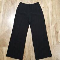 ANN TAYLOR Women Dress PANTS WIDE Trouser LEG STRIPE SLACKS LINED CAREER SZ 10