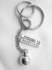 CROSSFIT Weight Lifting KETTLEBELL 'STRONG IS BEAUTIFUL' Fitness KEY CHAIN RING
