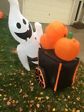 Pre-Owned Halloween Ghost Pushing Wheelbarrow Of Pumpkins Inflatable 4.5ft Tall