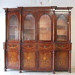 Credenza antica mobile libreria grande vetrina d'epoca stile 800 inglese intarsi
