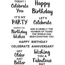 Birthday Quote Collection Clear Unmounted Rubber Stamp Set Kaisercraft CS295 New