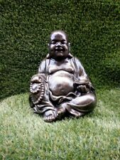 Fat Buddha Reconstituted Stone Bronze Infusion Garden Ornament-Free UK P&P