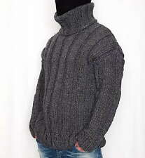 Hand knitted 100% WOOL sweater elastic mens thick woolen pullover turtleneck