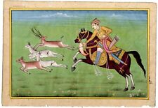Mughal Emperor Hunting The Deer Handmade Indian Miniature Old Art And Painting