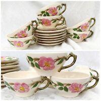 14 pc Set Vintage Franciscan Desert Rose (American Backstamp) Cups & Saucers USA