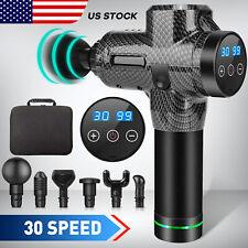 Massage Gun Percussion Massager 30 Speed Deep Muscle Pain Vibrating Rela 6 Heads
