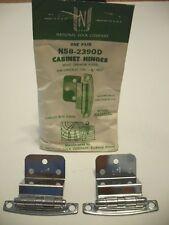 "Vintage NOS Chrome Steel Semi-Concealed Cabinet Hinges 3/4"" Inset National Lock"