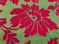 SALE! 2YDS Garnet & Pea LIme Barkcloth Era Vintage Fabric Decorator 60's 70s DIY