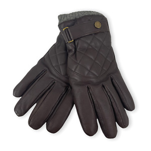 NEW POLO RALPH LAUREN Brown Quilted 100% Leather Fall Winter Gloves Sz XL