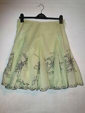 JANE NORMAN Lime/Black Embroidery Broderie Anglaise Circle Boho Skirt UK 10