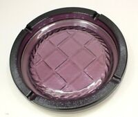 "Vintage Large (10.25"")  Purple / Plum Glass Cigar Cigarette Ashtray Heavy Round"