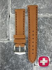NEW HQ 20mm SWISS ARMY WENGER Calf Leather Strap Brown Watch Band 20 mm