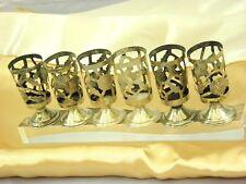 Vintage Sterling Silver Liquor Shot Glasses Coasters Floral Art Mexico Set of 6