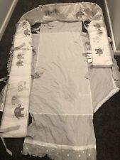 Pottery Barn Kids Gray & White elephants Baby Crib Bumper Pads Set W/ Bot Sheet