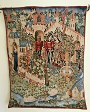 King Arthur & Guinevere Medieval Camleot Castle French Woven Tapestry Wall Art