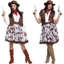 Ladies Cowgirl Costume Wild West Cowboy Fancy Dress Outfit