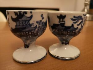 Rare Vintage Blue & White BURLEIGH WARE Willow Pattern porcelain Egg cups pair