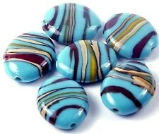 Handmade LAMPWORK Glass Turquoise Ribbon Oval Beads 25x20mm