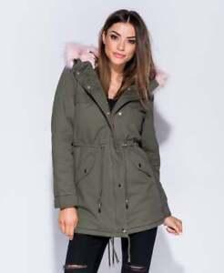 SALE Womens Ladies Girls Khaki Pink Faux Fur Trim Parka Jacket Coat UK Size 6-14