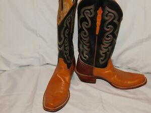 LUCCHESE CLASSIC HANDMADE BROWN LEATHER BOOTS SIZE 9 1/2B