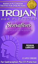 Trojan Her Pleasure Sensations Ribbed Latex Condoms 12 Each
