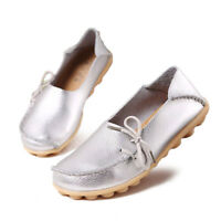 Women's Soft Leather Slip On Moccasins Flats Loafers Boat Walking Driving Shoes